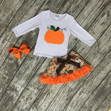 Girls fall boutique clothes baby girls pumpkin top with skirts baby girls Halloween long sleeve outfits with bows