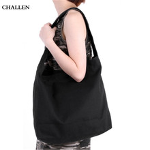 Previous  Next Girl Practical Solid Color Large Capacity Canvas Magnetic Button Travel Shopping School Shoulder Bag