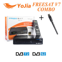 10pcs Support PowerVu Freesat V7 Combo Satellite Receiver with USB WIFI DVB S2 DVB T2 Combo Set Top Box Biss Key Cccam Newcam