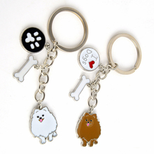 Pomeranian Dog Pendant Key Chains For Women Girls Men Silver Color Alloy Pet Bag Charm Key Ring Male Female Car Keychain Keyring(China)
