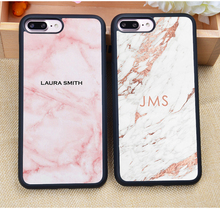PERSONALISED Initials NAME Monogram Marble Printed Soft Rubber Phone Cases For iPhone 6 6S Plus 7 7S Plus 5 5S 5C SE 4 4S Cover