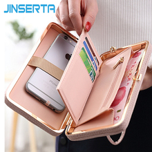 JINSERTA Luxury Women Wallet Phone Bag Leather Case For iPhone 7 7 Plus Universal Phone Pouch 4.5 inch to 5.5 inch(China)