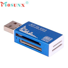 Hot-sale Mosunx Card Reader Tiny Blue USB 2.0 All in 1 Multi Memory Card Reader Adapter For Micro SD SDHC TF M2 MMC Gifts 1 pc