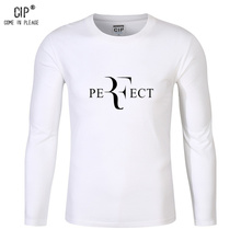 CIP 100% Cotton Roger Federer Autumn Clothing Perfect Print T-shirt Trend Casual Brand Mens T-Shirts Funny Korean T Shirts Slim