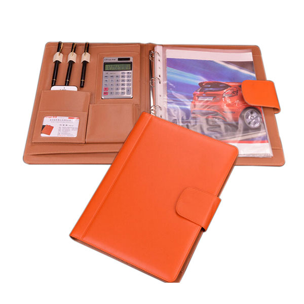 professional a4 PU leather folder file executive portfolio documents organizer ring binder with calculator--orange/brown/black<br>