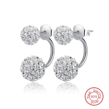 Shambhala  925 Sterling Silver Crystal Double Ball Earrings for Women Hot Sale Pendientes Plata 925 Statement Jewelry Girls Gift