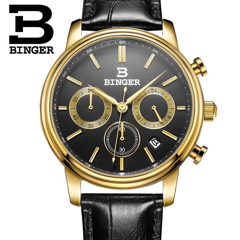 Switzerland BINGER mens watch luxury brand Quartz waterproof Chronograph Stop clock leather strap Wristwatches B9005-3<br>