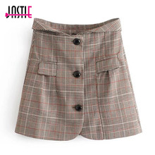 Buy Jastie Vintage Plaid High Waist Wool Skirt 2018 Spring Women Skirt Office Lady Skirts Jupe Casual Button Front Mini Skirts Saia for $21.99 in AliExpress store