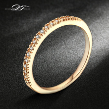Micro Pave Cubic Zirconia Wedding/Engagement Rings Silver/Rose Gold Color Fashion Brand Crystal Ring Jewelry For Women DFR133