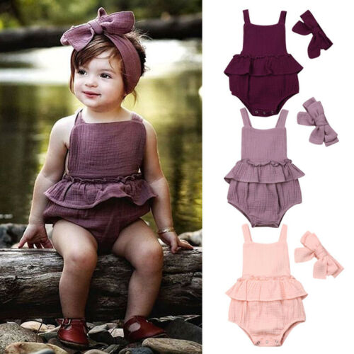 Cotton Romper Newborn Baby-Girls Jumpsuit Outfits-Set 0-24month Headband 2pcs 0-2T Backless title=