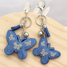 ZOSHI 2017 Crystal butterfly Pendant Animal keychain wholesale silver color key chain ring holder Women bag charm bag porte clef(China)