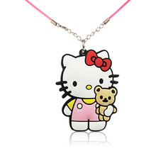 1PCS Hello Kitty Hot Cartoon Soft PVC Pendants + 51cm Necklaces Rope Chain Necklace Kid Gift Party Favors Fashion Jewelry(China)