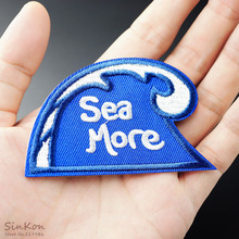 Sea Wave Size:5.0x7.9cm Iron On Badge Patches Embroidered Applique Sewing Patch Clothes Stickers Garment Apparel Accessories(China)
