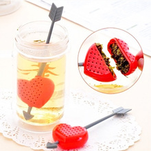 1PC Creative Home Tea Balls Plastic Arrow Love Heart Tea Infuser Herb Leaf Filter Strainer Stirrer Teabag Sweet Valentine 2017