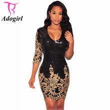 2016 Brand New Sequined Dresses Party Black Gold/Silver 3/4 Sleeves Bodycon Dress Autumn Night Club Sexy Vestido De Festa