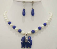 Wholesale price 16new ^^^^white Akoya Cultured pearl & blue stone elephant pendant necklace earrings