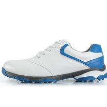 New 2017 Men's Golf Shoe Super Fiber Leather Ultra Light Elastic EVA Anti Skid Breathable Waterproof (Blue)(China)