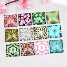 onwear square glass cabochon 20mm 25mm 12mm mixed pattern photo flatback handmade jewelry cabochons(China)