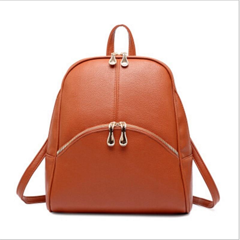 2017 Fashion Womens Backpacks Women Leather Large School Bag Girls Candy Color Travel Shoulder Bags Female Mochila Black Pink<br><br>Aliexpress
