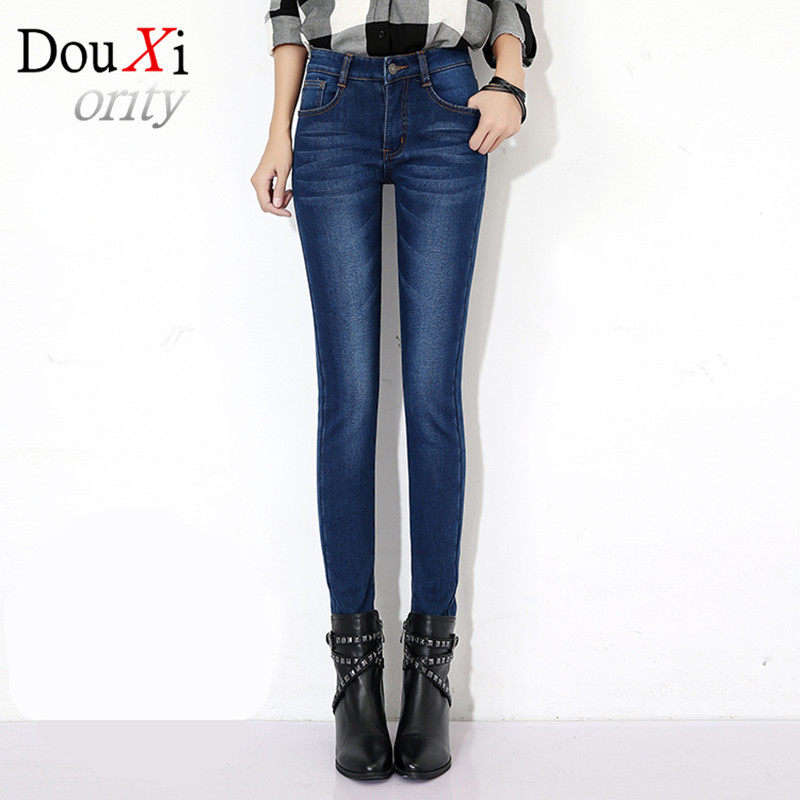 2017 New Fashion jeans women Slim Skinny High Waist Warm winter Women Jeans Stretch Accept Waist Plus Size PantsОдежда и ак�е��уары<br><br><br>Aliexpress