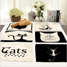 Hot Sale Black Cats Placemat Cotton Linen Drawing Table Mat Dishware coasters For Dinner Accessories Cup Wine mat