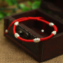 S925 Sterling Silver Transport Bead Lucky Red Rope Shamballa Bracelet Handmade Bangle Wax String Amulet High Quality Jewelry(China)