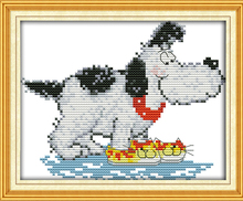 Joy Sunday The dog has running shoes on his front paws Needlework DIY Handmade Cross Stitch Sets For Embroidery Kits Home Decor(China)