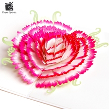 Handmade Happy Birthday Postcards Paper Laser Cut 3D Pop Up Greeting Gift Cards Carnation for Mother's Day GFM2049W 10pcs/lot