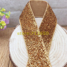 Free shipping 3/4'' (20mm) 10 yards Gold Color single face Glitter velvet ribbon/Metallic Velvet Ribbon(no elastic)
