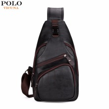 VICUNA POLO Extra Large Size Fashion Mens Shoulder Bag Burglarproof Snapper Black Leather Mens Messenger Bag Travel Chest Bag(China)