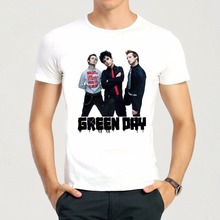 Mens & Womens White Color Green Days T-Shirt Short Sleeve Fist Green Days Band Top Tees Shirt