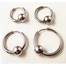 2 pieces Silver 316L Brand New Stainless Steel Round Hoop Earrings With Beads Cute small Circle Ear Jewelry(China)