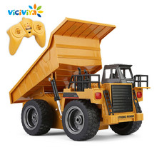 VICIVIYA 1540 Dumper Tipper Lorry 1:18 LED RC Model Dump Truck Remote Control Toy Vehicles for Boys Kids Children Perfect Gifts(China)