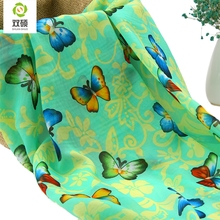 Summer New Chiffon Cloth Fashion Butterfly Printing Scarves Fabric Dress Fabric Meter 150*50cm