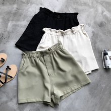 great summer woman elastic waist casual shorts army green solid khaki loose high shorts with pockets(China)