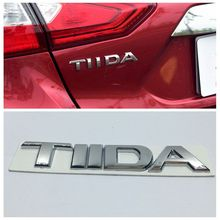 3D Tiida Letters Logo Emblem Badge Sticker Car Silver Rear Boot Decal For Nissan Tiida