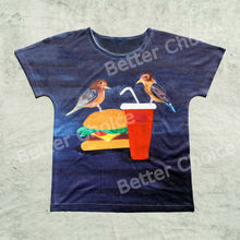 Track Ship+New Vintage Retro Fresh Hot T-shirt Top Tee Two Little Bird Eat Hamburg and Drink Water 0981