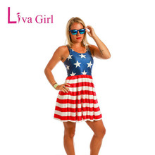 Liva Girl 2017 Women Summer Fashion Sexy Red White Striped Dress American Independence Day Flag Sleelveless Dress Ladies Dress