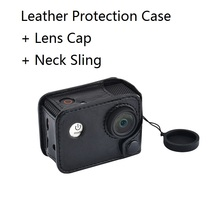 Action Camera Bag Protective Leather Case with Sling Lanyard with Lens Cap for original SJCAM SJ4000 SJ7000 SJ9000 EKEN H9 c30(China)