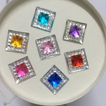 DIY 40PCS 10mm Resin square shape Flatback Rhinestone Wedding decoration craft D53