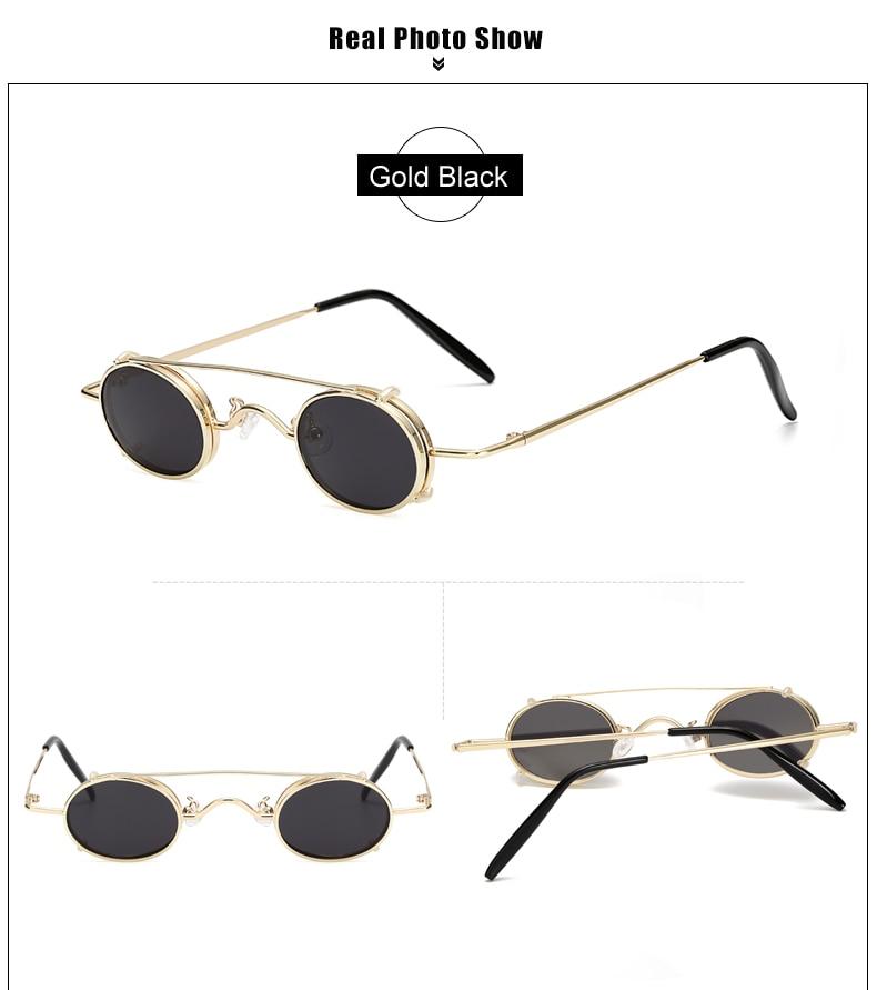 Ralferty Vintage Small Clip On Sunglasses Women Men Retro Mini Steampunk Goggles Punk Sun Glasses UV400 Eyewear Accessories B012 6