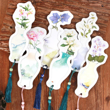 6pcs/lot Vase Shaped Very Beautiful Paper Bookmark Vintage China Feature Stationery Gift Decoration Book Mark with Tassel WZ