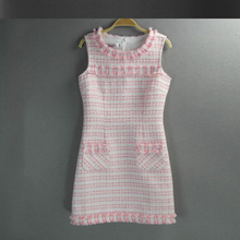 Pink tweed dress Spring / autumn women vest dress advanced custom ladies bottoming plaid a-line dress