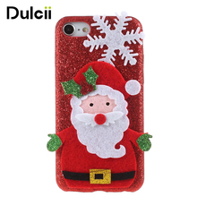 Dulcii for iphone7 8 cute case cover 3D Christmas gifts Element Sequins Coated PC Hard Coque for iPhone8 7 Phone Funda Cases(China)