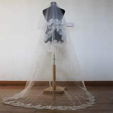Don's Bridal Cheap Cathedral Wedding Veil Accessories 2.6 Meter Voile Mariage Vail Velos Lace Cotton Bride Veils 2017