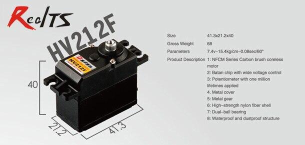 RealTS One piece Batan HV212F 13.6kg dual ball bearing digital metal gear coreless servo for rc car rc boat rc airplane<br>