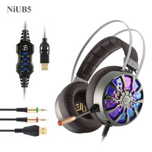 NiUB5 G6 Gaming Headsets for Computer Virtual 7.1 Vibration Luminous Volume Control Noise Cancelling Headphone Headset Gamer