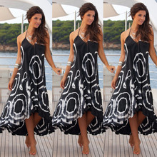Buy Women Sexy Summer Halter String Strappy Shoulder V Neck Dress Boho Maxi Long Beach Dress square Printing Chic Dress