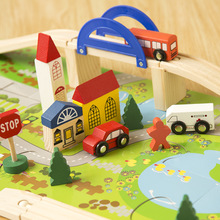 Urban rail intersection traffic scene combination wooden toys, The train track disassembling, Children's educational toys