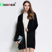 {Guoran} Soft Faux Mink Cashmere Cardigans For Women 2017 Black White Female Loose Knitted Sweaters Open Stitch Long Overcoat(China)